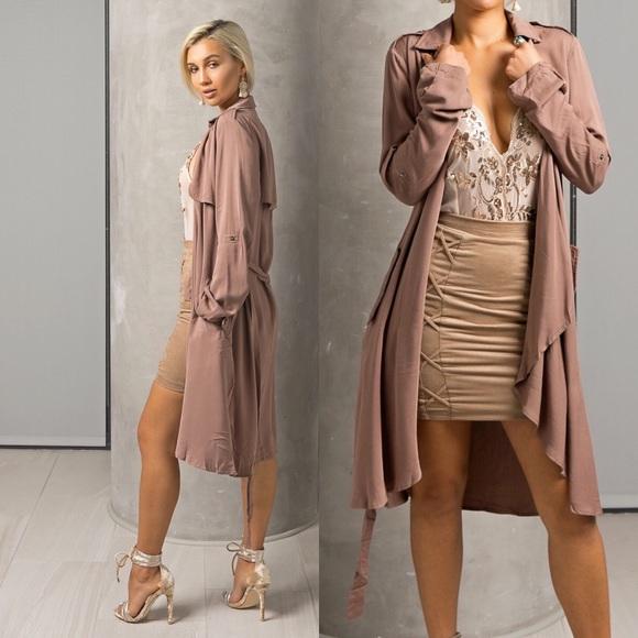 b726d0d30f3e Style Link Miami Jackets & Coats | Dark Mauve Draped Trench Jacket ...